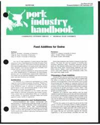 Feed Additives for Swine, Document E1156 by MacK D. Whiteker