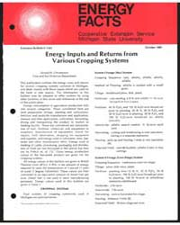 Energy Inputs and Returns from Various C... by Donald R. Christenson