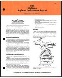 1988 Michigan Soybean Performance Report... by M. L. Vitosh
