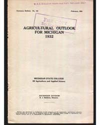 Agricultural Outlook for Michigan 1932, ... by Baldwin, R. J.