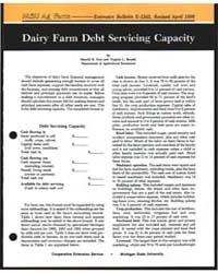 Dairy Farm Debt Servicing Capacity, Docu... by Sherril B. Nott