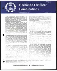 Herbicide-fertilizer Combinations, Docum... by Michigan State University