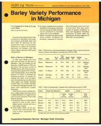 Barley Variety Performance in Michigan, ... by L. O. Copeland