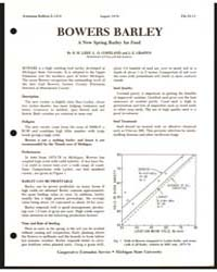 Bowers Barley, a New Spring Barley for F... by R. H. Leep