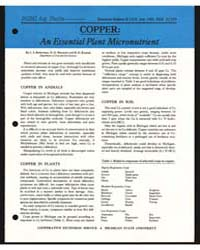Copper : an Essential Plant Micronutrien... by L. S. Robertson