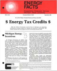 Energy Tax Credits, Document E1548-1981 by Cynthia Fridgen
