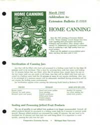 Home Canning, Document E1555-1985-a1 by Michigan State University