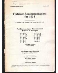 Fertilizer Recommendations, Document E15... by Milar, C. E.