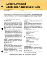 Labor Laws and Michigan Agriculture 1982... by Shapley, Allen E.