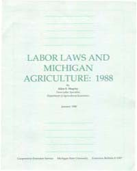 Laborlaws and Michigan Agriculture : 198... by Shapley, Allen E.