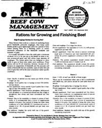 Rations for Growing and Finishing Beef, ... by Michigan State University