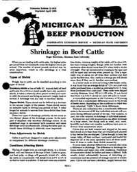 Shrinkage in Beef Cattle, Document E1632... by Roger Brownson