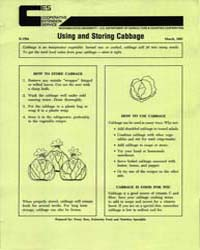 Using and Storing Cabbage, Document E170... by Penny Ross