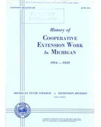 History of Cooperative Extension Work in... by Michigan State University