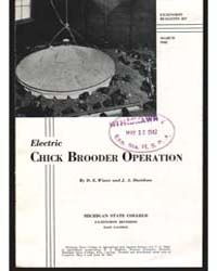 Electric Chick Brooder Operation, Docume... by D. E. Wiant