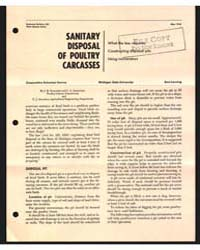 Sanitary Disposal of Poultry Carcasses, ... by J. H. Wolford