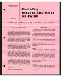 Controlling Insects and of Swine, Docume... by L. Janes