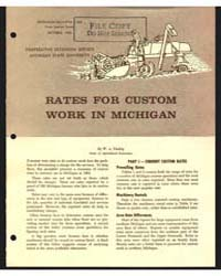 Rates for Custom Work in Michigan, Docum... by W. A. Tinsley