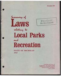 Summary of Laws Relating to Local Parks ... by Michigan State University