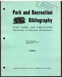 Park and Recreation Bibliography, Docume... by Michigan State University
