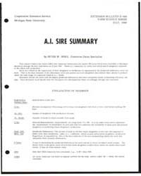 A.I. Sire Summary, Document E666 by Peter W. Spike
