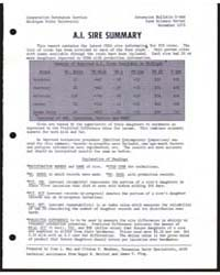 A.I. Sire Summary, Number 14 by Michigan State University