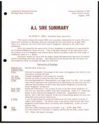 A.I. Sire Summary, Document E666Rev2 by Peter W. Spike