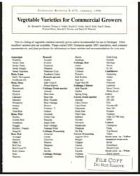 Vegetable Varieties for Commercial Growe... by Zandstra, Bernard H.