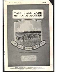 Value and Care of Farm Manure, Document ... by John W. Sims
