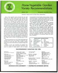 Home Vegetable Garden Variety Recommenda... by Robert C. Herner