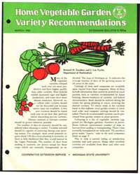 Home Vegetable Garden Variety Recommenda... by Zandstra, Bernard H.