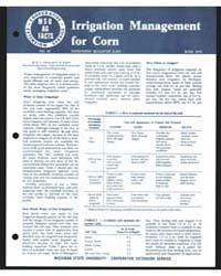 Irrigation Management for Corn, Bulletin... by E. H. Kidder