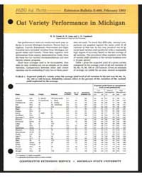 Oat Variety Performance in Michigan, Doc... by R. D. Freed