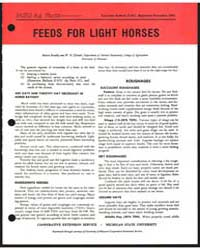 Feeds for Light Horses, Document E917Pri... by Melvin Bradky