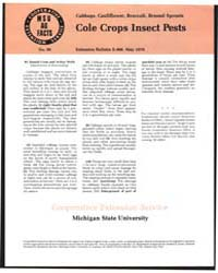 Cole Crops Insect Pests, Document E968 by Donald Cress
