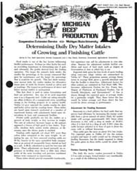 Michigan Beef Production, Document E991 by Danny G. Fox