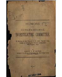 Humors of a Congressional Investigating ... by Samuel E. W. Becker
