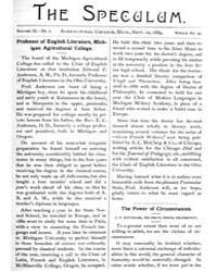 The Speculum : Volume 9, Number 2, Docum... by Michigan State University