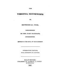 The Virginia Housewife, Document Virg by Mary Randolph