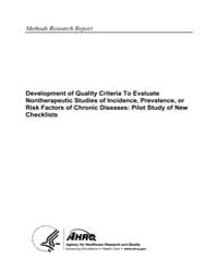 Development of Quality Criteria to Evalu... by Agency for Healthcare Research and Quality US
