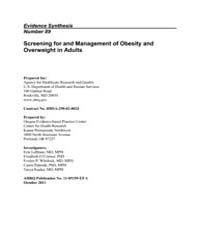 Screening for and Management of Obesity ... by Agency for Healthcare Research and Quality