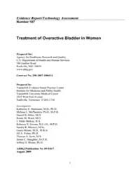 Treatment of Overactive Bladder in Women by Agency for Healthcare Research and Quality