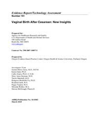 Vaginal Birth After Cesarean : New Insig... by Agency for Healthcare Research and Quality