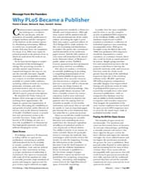 Plos Biology : Why Plos Became a Publish... by Brown, Patrick O.