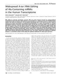 Plos Biology : Widespread A-to-i Rna Edi... by Wickens, Marv