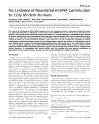 Plos Biology : No Evidence of Neandertal... by Penny, David