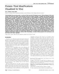 Plos Biology : Protein Thiol Modificatio... by Valentine, Joan
