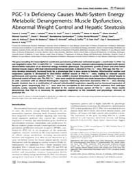 Plos Biology : Pgc-1Α Deficiency Causes ... by Vidal-puig, Antonio