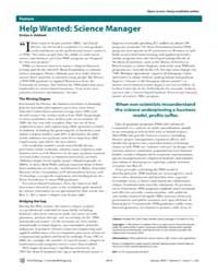 Plos Biology : Help Wanted ; Science Man... by Hubbard, Kirsten A.