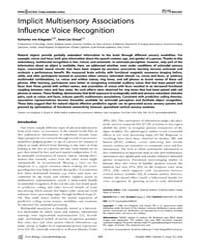 Plos Biology : Implicit Multisensory Ass... by Ungerleider, Leslie